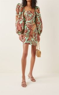Johanna Ortiz Golden Temple Printed Cotton Mini Dress / green bird print balloon sleeve dresses