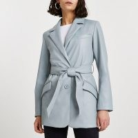 River Island Green faux leather dad blazer – luxe style waist tie blazers – women's belted jackets