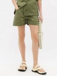 JIL SANDER Herringbone-weave cotton shorts ~ khaki-green utility clothing