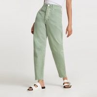 River Island Green high waisted tapered jean | coloured denim jeans