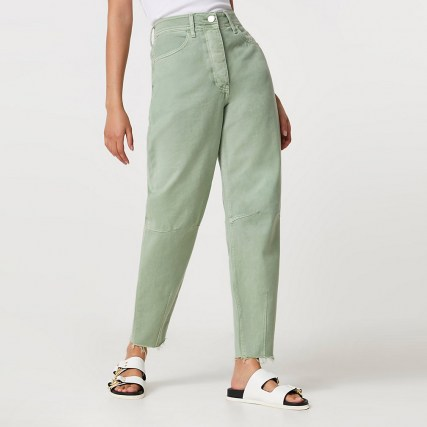 River Island Green high waisted tapered jean | coloured denim jeans - flipped