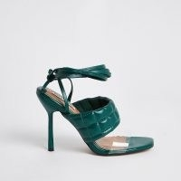 RIVER ISLAND Green padded tie up sandal heels / quilted ankle wrap sandals