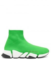 BALENCIAGA Speed 2.0 trainers – green stretch jersey sock style trainer