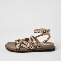 RIVER ISLAND Grey snake print strappy stud sandals