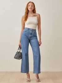 Reformation Hailey Pinstripe High Rise Wide Leg Jeans | striped denim