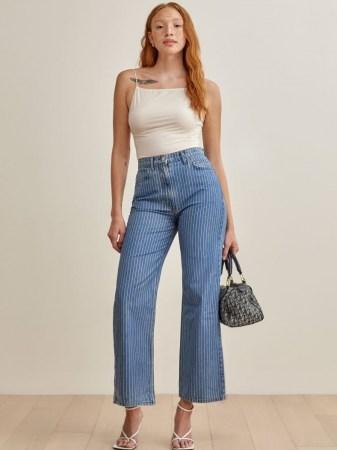 Reformation Hailey Pinstripe High Rise Wide Leg Jeans | striped denim - flipped