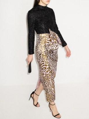 Halpern leopard print panelled long dress | glamorous party dresses - flipped