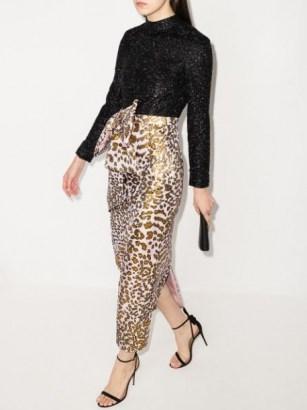 Halpern leopard print panelled long dress | glamorous party dresses