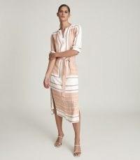 REISS HARPER SCARF PRINT MIDI DRESS NUDE ~ elegant summer event dresses