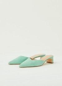 L.K. BENNETT HARRIET MINT LEAF SUEDE OPEN COURTS ~ green low heel point toe mules