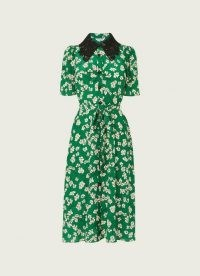 L.K. BENNETT HASKELL GREEN DAISY PRINT SILK SHIRT DRESS ~ floral lace collar dresses ~ vintage style spring and summer clothing