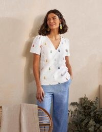 BODEN Heidi Top White Pineapple Embroidery