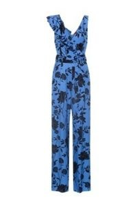 HUGO Kaleila flower-print V-neck jumpsuit with asymmetric ruffles – sleeveless ruffle detail jumpsuits