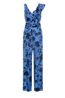 HUGO Kaleila flower-print V-neck jumpsuit with asymmetric ruffles – sleeveless ruffle detail jumpsuits - flipped