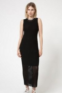 HUGO Shomary tube dress in super-stretch fabric with sheer accents – black knitted sleeveless column dresses