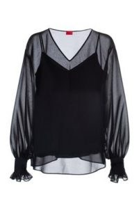 HUGO Cadesi V-neck top in chiffon with smocked sleeves – women's black sheer overlay tops