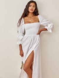 Reformation Hyland Dress White | square neck, smocked bodice thigh high slit summer dresses | double puff sleeves