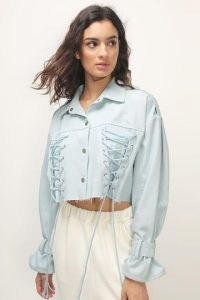 storets Laura Corset Detail Cropped Jacket Light Wash   casual lace up detail jackets
