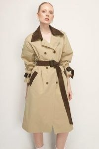 storets Thea Contrast Collar Trench Coat | beige belted coats
