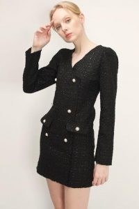 storets Ivy Tweed Button Detail Dress ~ textured LBD