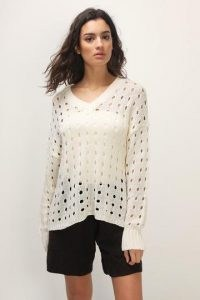 storets Willa Cutout Crochet Sweater | ivory cut out knitted V-neck
