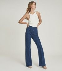 Reiss ISA HIGH RISE WIDE LEG JEANS MID BLUE   seventies inspired denim   70s look fashion