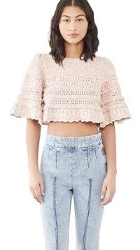 Isabel Marant Friz Sweater Pink – cropped ruffle edge sweaters