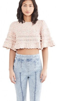 Isabel Marant Friz Sweater Pink – cropped ruffle edge sweaters - flipped