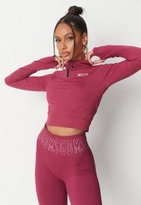 jordan lipscombe x missguided recycled burgundy msgd seamless half zip gym top ~ sporty fashion ~ sports tops