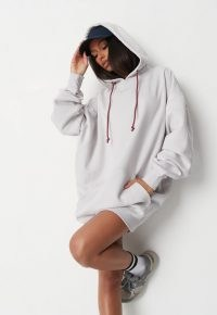 jordan lipscombe x missguided white embroidered athleisure hoodie dress ~ oversized pullover hoodies
