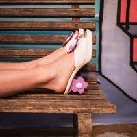 Atelier de Charlotte Josephine White Mules / retro floral heels