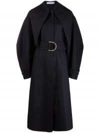 JW Anderson SLIM COLLAR D-RING TRENCH COAT | navy blue voluminous coats