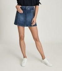Reiss KALEIGH DENIM MINI SKIRT MID BLUE | casual summer skirts