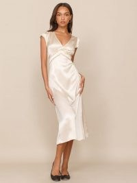 Reformation Kaye Dress | ivory silk vintage style empire waist dresses