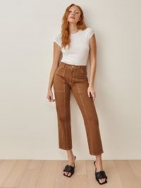 REFORMATION Kealy Carpenter High Rise Relaxed Jeans in Taos ~ brown crop leg denim jean