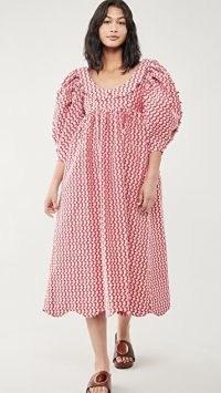 Kika Vargas Naomi Dress Pink Embroidery Shells / summer dresses with volume