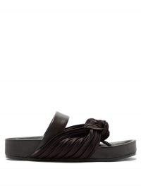 JIL SANDER Knotted satin and leather slides ~ ruched footbed sandals