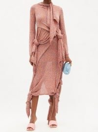 LOEWE Knotted-hem sequinned knitted skirt ~ pink asymmetric skirts