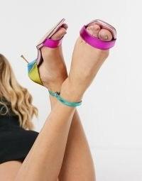 Kurt Geiger London Birchin strappy heeled sandal in rainbow leather ~ bright metallic sandals
