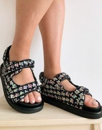 Kurt Geiger London Orson sporty strappy sandal with eagle trim in multi / textured fabric flats