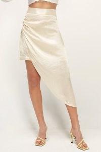 storets Lainey Asymmetric Satin Skirt ~ cream wrap style skirts