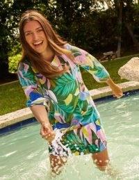 BODEN Laurie Linen Dress Plum Blossom, Tropical Flora