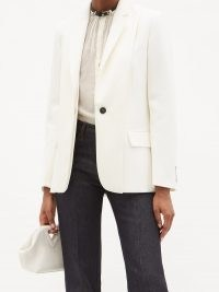 VICTORIA BECKHAM Layered single-breasted wool jacket ~ women's white jackets