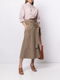 Lemaire high-waisted A-line skirt hazelnut brown | contemporary belted skirts
