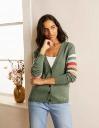 Boden Lennox Relaxed Cardigan Alder Melange ~ strip sleeve button up cardigans