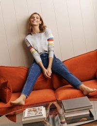 Boden Lennox Relaxed Jumper Grey Melange | stripe sleeve knitted crew neck