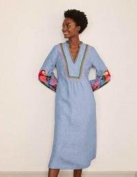Boden Leonie Linen Dress Grey Blue Chambray   lightweight denim summer dresses