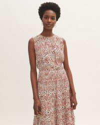 JIGSAW LEOPARD MEADOW SHORT DRESS ~ sleeveless gathered neckline dresses