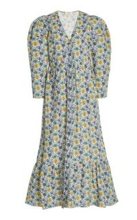 Sea Leslie Printed Cotton Midi Dress / floral flared hem summer dresses
