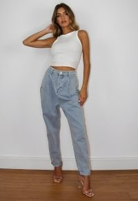 Missguided light blue highwaisted pleated slouch jeans | slouchy denim